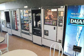 Full line up of vending machines, Vending Bank of Machines