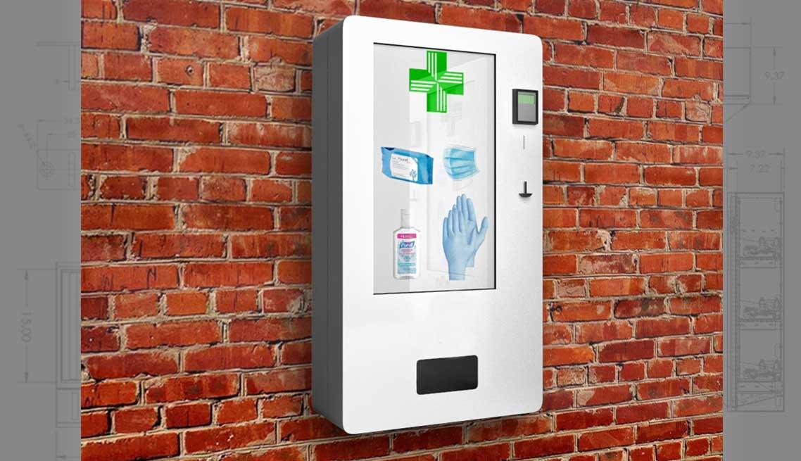 Touch screen sanitation vending dispenser